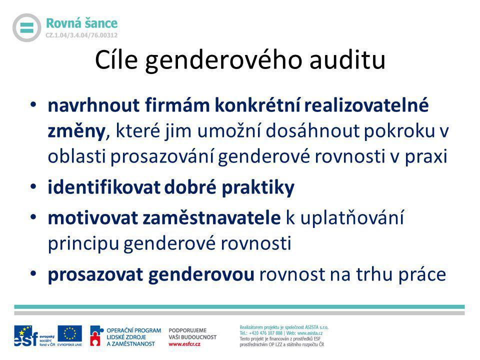 Cíle genderového auditu • navrhnout firmám konkrétní realizovatelné změny, které jim umožní dosáhnout pokroku v oblasti prosazování genderové rovnosti