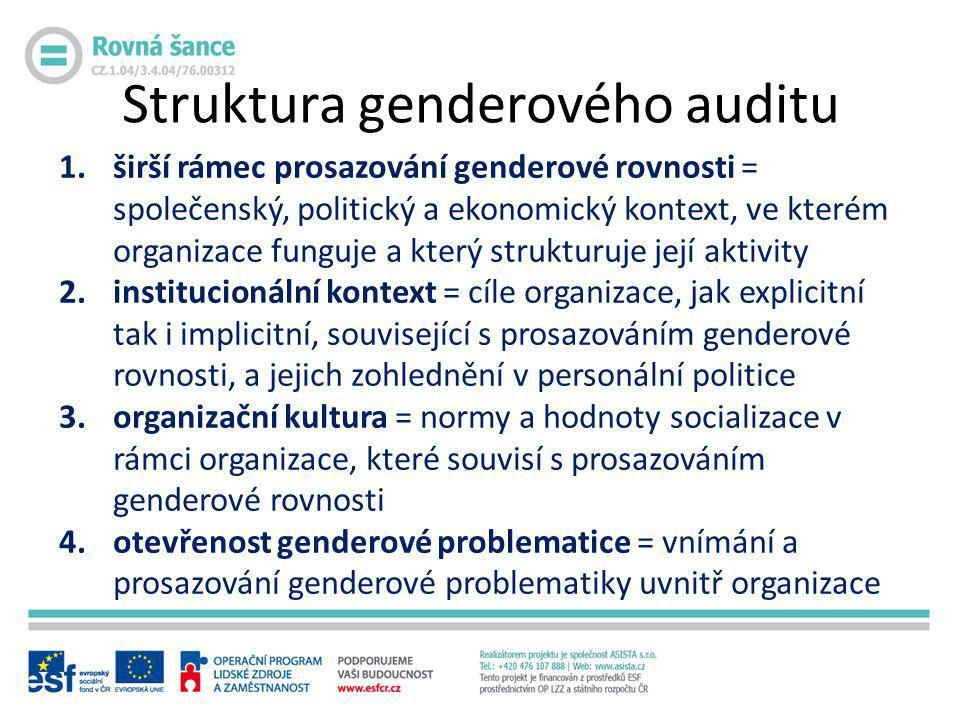 Struktura genderového auditu 1.širší rámec prosazování genderové rovnosti = společenský, politický a ekonomický kontext, ve kterém organizace funguje