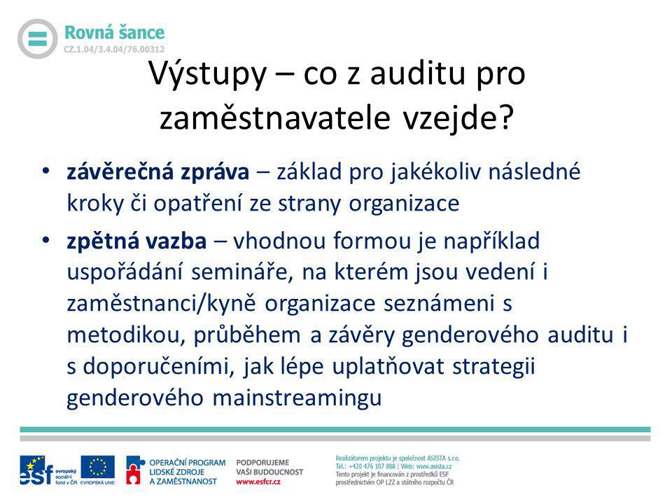 Výstupy – co z auditu pro zaměstnavatele vzejde? • závěrečná zpráva – základ pro jakékoliv následné kroky či opatření ze strany organizace • zpětná va
