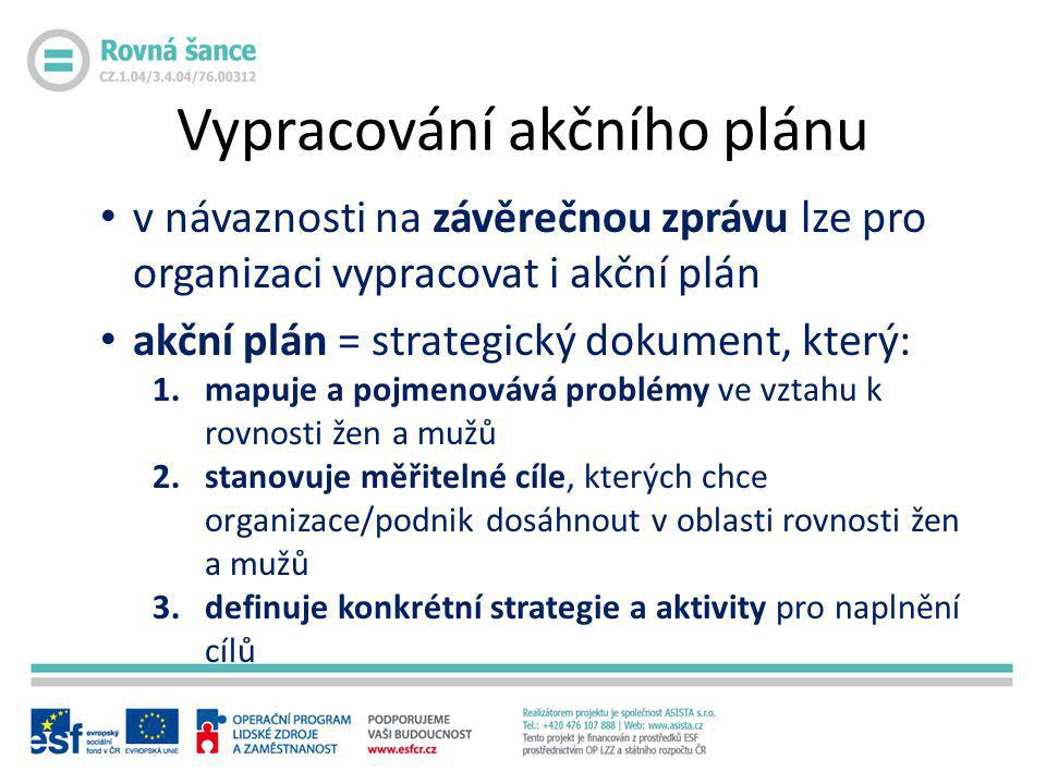 • v návaznosti na závěrečnou zprávu lze pro organizaci vypracovat i akční plán • akční plán = strategický dokument, který: 1.mapuje a pojmenovává prob