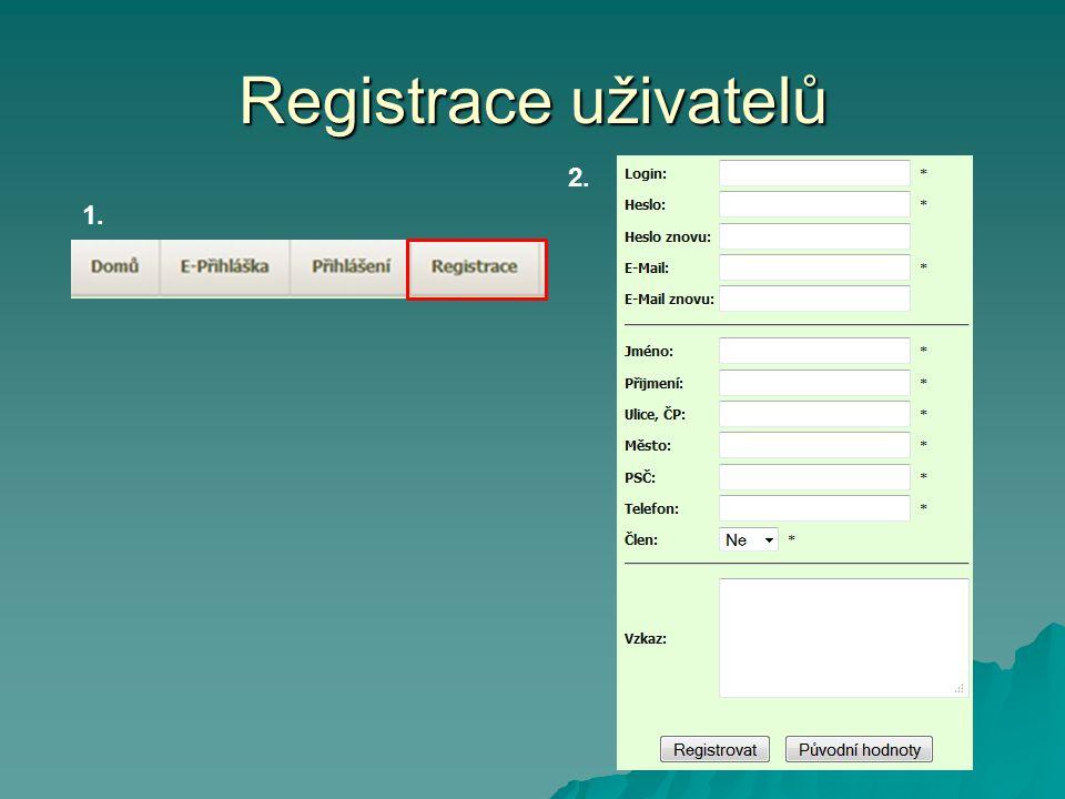 Registrace uživatelů 1. 2.