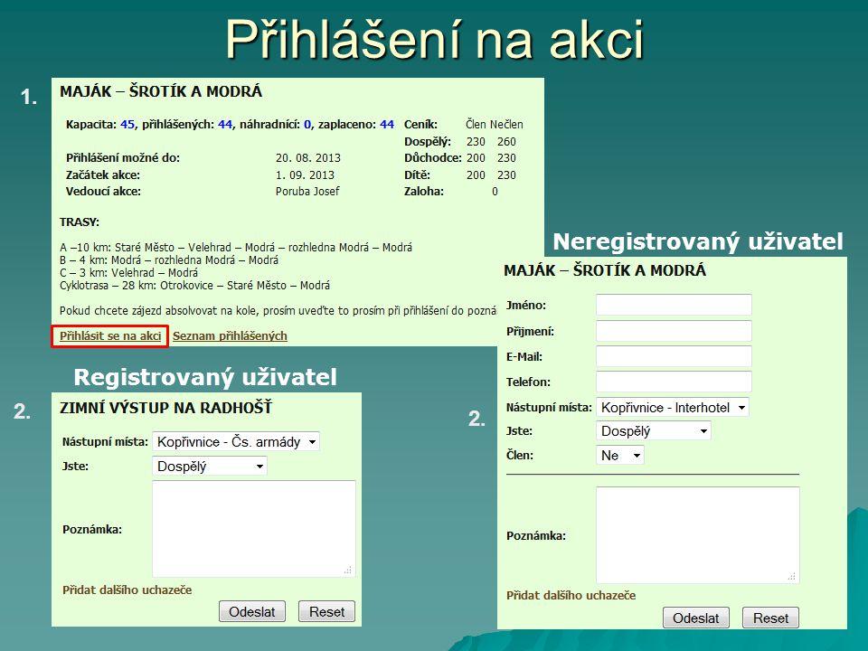 Přihlášení na akci 1. 2. Registrovaný uživatel Neregistrovaný uživatel