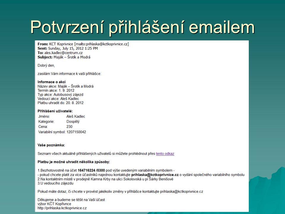 Potvrzení přihlášení emailem