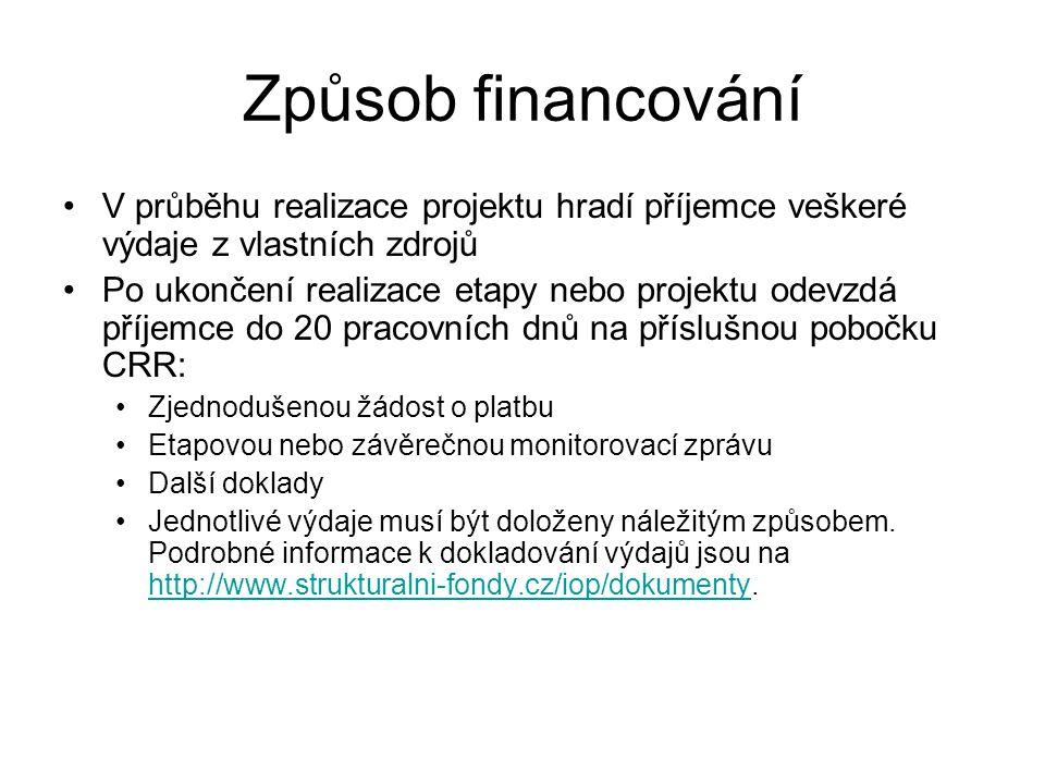 Způsob financování •V průběhu realizace projektu hradí příjemce veškeré výdaje z vlastních zdrojů •Po ukončení realizace etapy nebo projektu odevzdá příjemce do 20 pracovních dnů na příslušnou pobočku CRR: •Zjednodušenou žádost o platbu •Etapovou nebo závěrečnou monitorovací zprávu •Další doklady •Jednotlivé výdaje musí být doloženy náležitým způsobem.