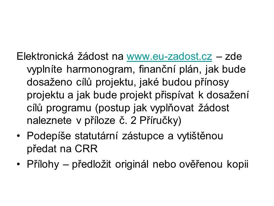 Elektronická žádost na www.eu-zadost.cz – zde vyplníte harmonogram, finanční plán, jak bude dosaženo cílů projektu, jaké budou přínosy projektu a jak bude projekt přispívat k dosažení cílů programu (postup jak vyplňovat žádost naleznete v příloze č.