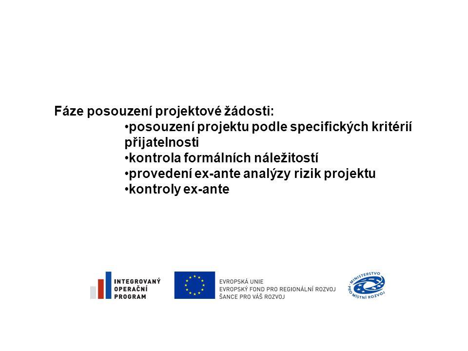 Fáze posouzení projektové žádosti: •posouzení projektu podle specifických kritérií přijatelnosti •kontrola formálních náležitostí •provedení ex-ante analýzy rizik projektu •kontroly ex-ante