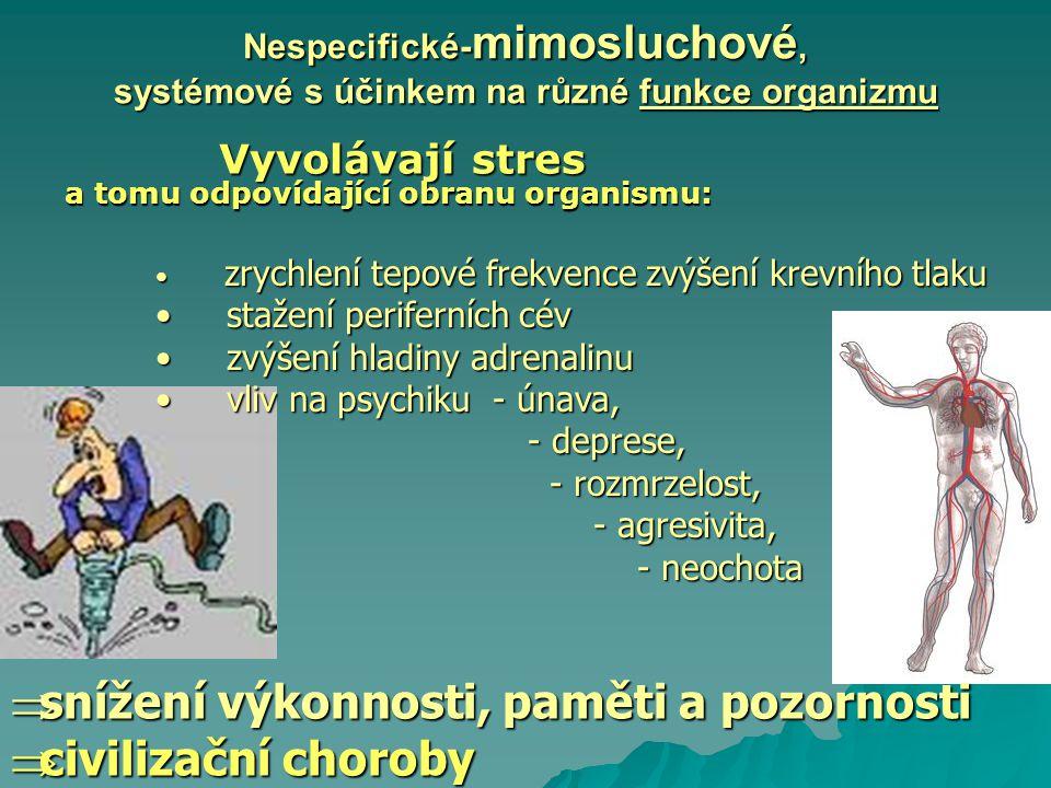 Nespecifické- mimosluchové, systémové s účinkem na různé funkce organizmu Vyvolávají stres Vyvolávají stres a tomu odpovídající obranu organismu:  sn