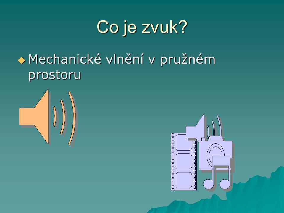 Co je zvuk?  Mechanické vlnění v pružném prostoru