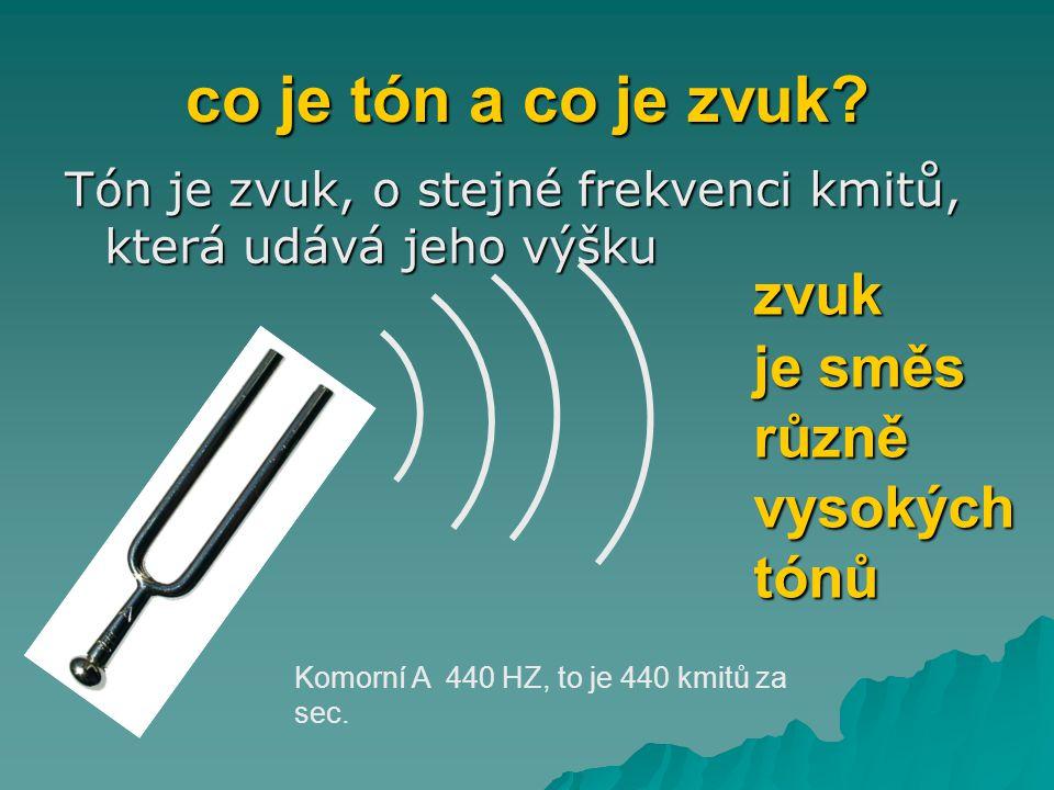 co je tón a co je zvuk? Tón je zvuk, o stejné frekvenci kmitů, která udává jeho výšku Komorní A 440 HZ, to je 440 kmitů za sec. zvuk je směs různě vys