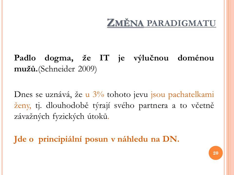 Z MĚNA Z MĚNA PARADIGMATU Padlo dogma, že IT je výlučnou doménou mužů.(Schneider 2009) Dnes se uznává, že u 3% tohoto jevu jsou pachatelkami ženy, tj.