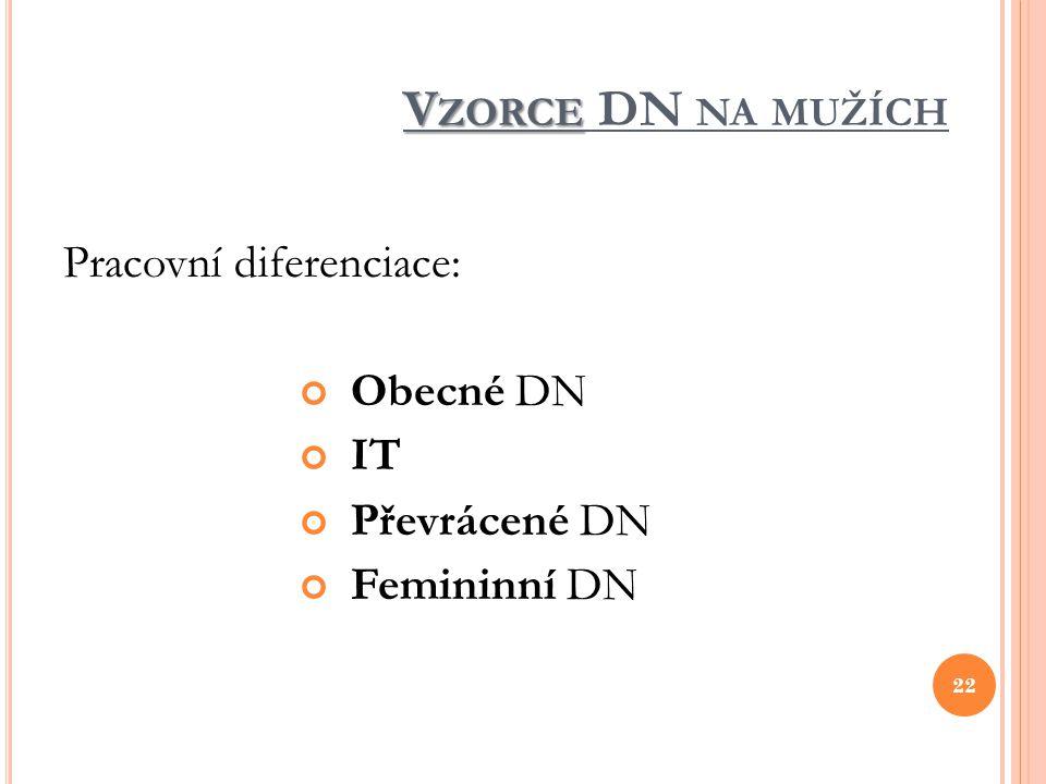 V ZORCE V ZORCE DN NA MUŽÍCH Pracovní diferenciace: Obecné DN IT Převrácené DN Femininní DN 22