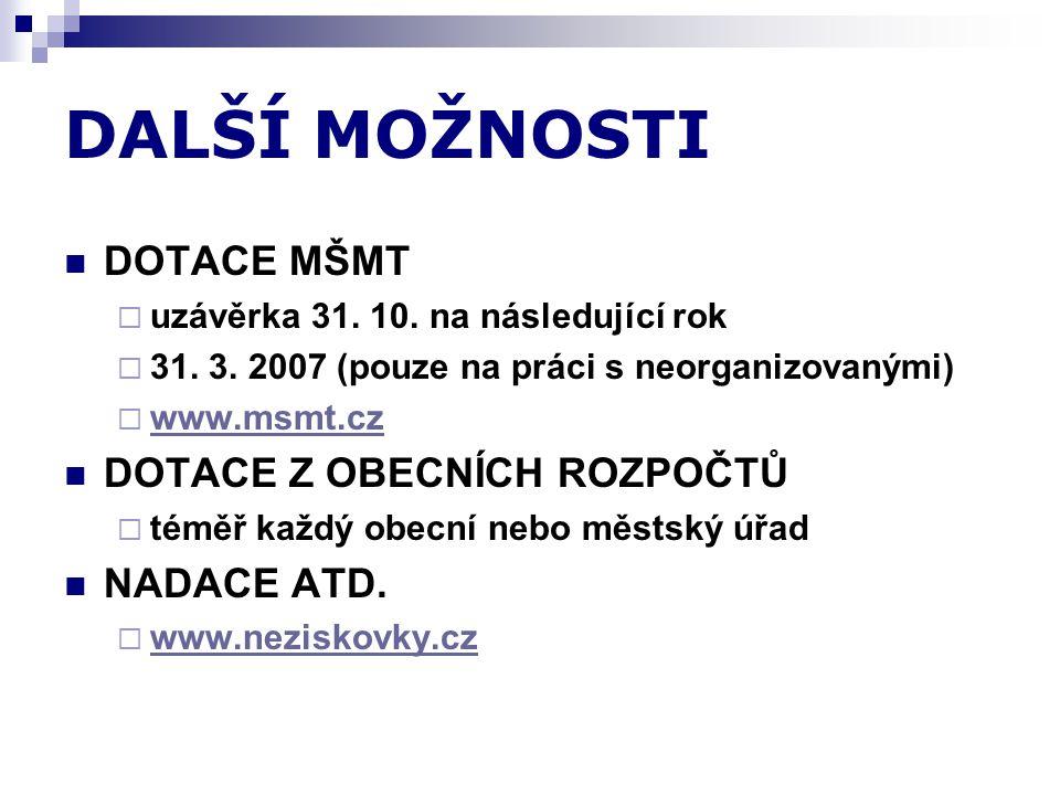 DALŠÍ MOŽNOSTI  DOTACE MŠMT  uzávěrka 31. 10. na následující rok  31.