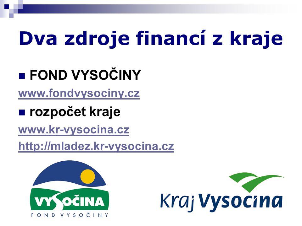 Dva zdroje financí z kraje  FOND VYSOČINY www.fondvysociny.cz  rozpočet kraje www.kr-vysocina.cz http://mladez.kr-vysocina.cz