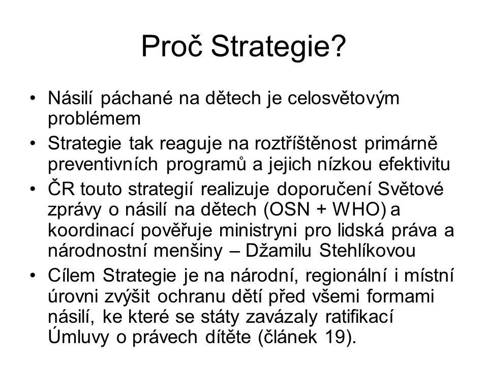 Proč Strategie? •Násilí páchané na dětech je celosvětovým problémem •Strategie tak reaguje na roztříštěnost primárně preventivních programů a jejich n