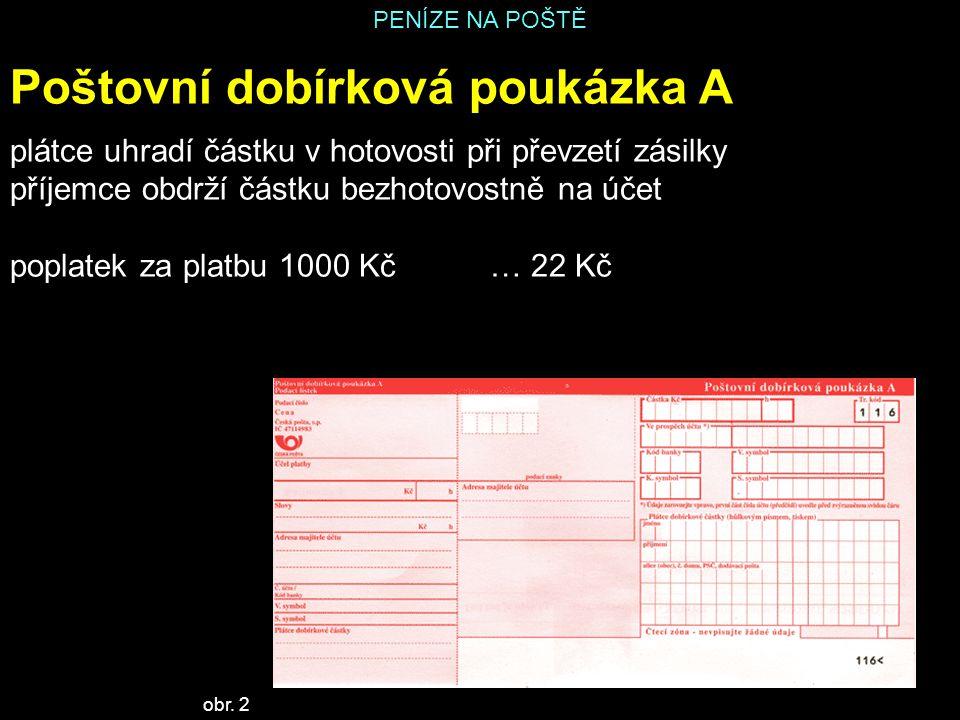 PENÍZE NA POŠTĚ Poštovní dobírková poukázka A plátce uhradí částku v hotovosti při převzetí zásilky příjemce obdrží částku bezhotovostně na účet popla
