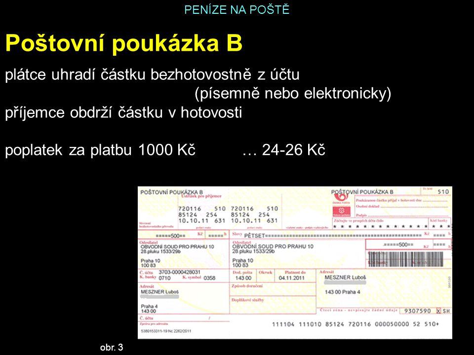 PENÍZE NA POŠTĚ Poštovní poukázka B plátce uhradí částku bezhotovostně z účtu (písemně nebo elektronicky) příjemce obdrží částku v hotovosti poplatek za platbu 1000 Kč… 24-26 Kč obr.