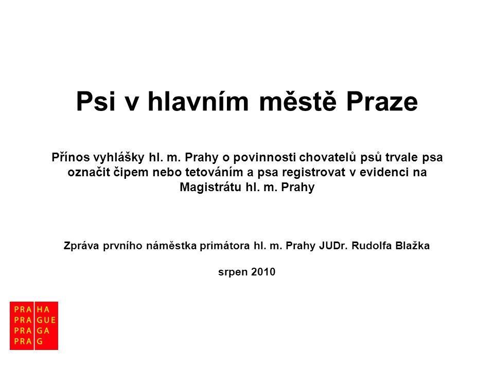 Psi v hlavním městě Praze Přínos vyhlášky hl. m. Prahy o povinnosti chovatelů psů trvale psa označit čipem nebo tetováním a psa registrovat v evidenci