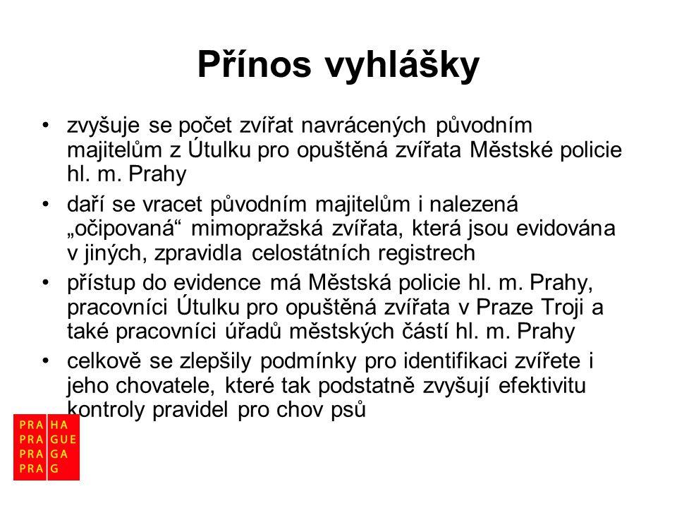 Přínos vyhlášky •zvyšuje se počet zvířat navrácených původním majitelům z Útulku pro opuštěná zvířata Městské policie hl. m. Prahy •daří se vracet pův