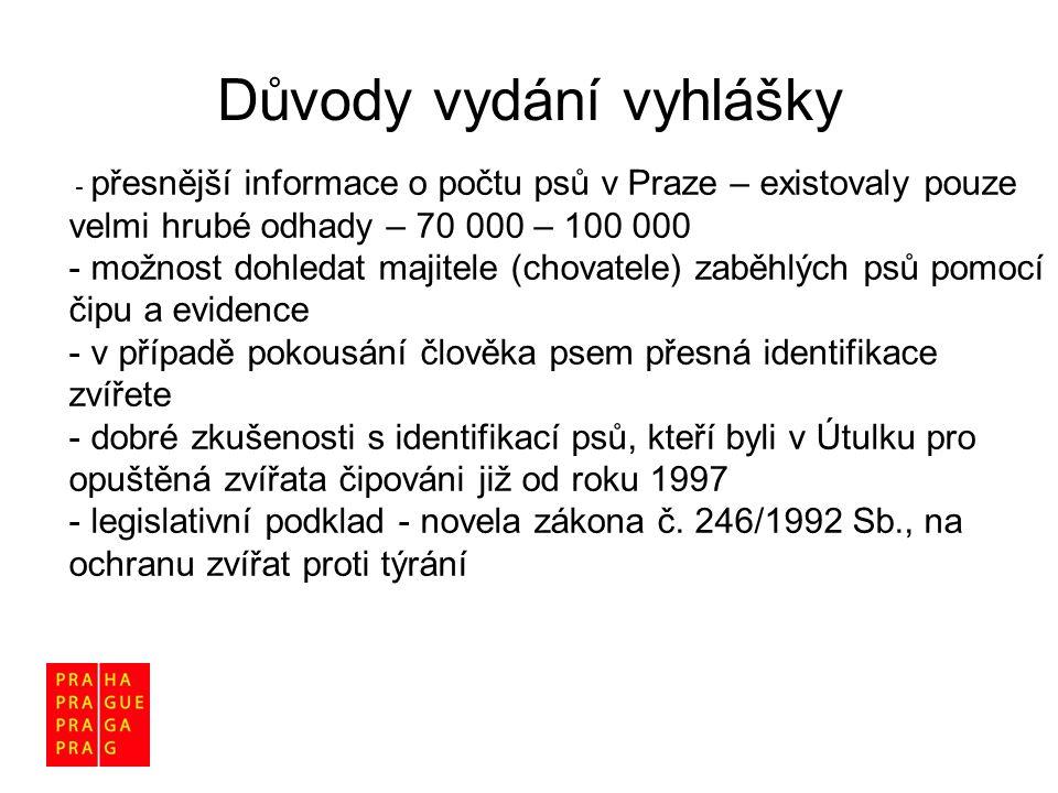 - přesnější informace o počtu psů v Praze – existovaly pouze velmi hrubé odhady – 70 000 – 100 000 - možnost dohledat majitele (chovatele) zaběhlých p
