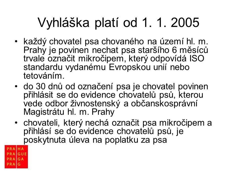 Vyhláška platí od 1. 1. 2005 •každý chovatel psa chovaného na území hl. m. Prahy je povinen nechat psa staršího 6 měsíců trvale označit mikročipem, kt