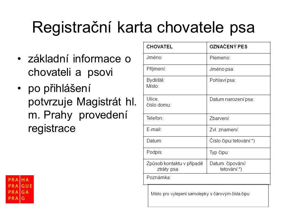 Registrační karta chovatele psa •základní informace o chovateli a psovi •po přihlášení potvrzuje Magistrát hl. m. Prahy provedení registrace Místo pro