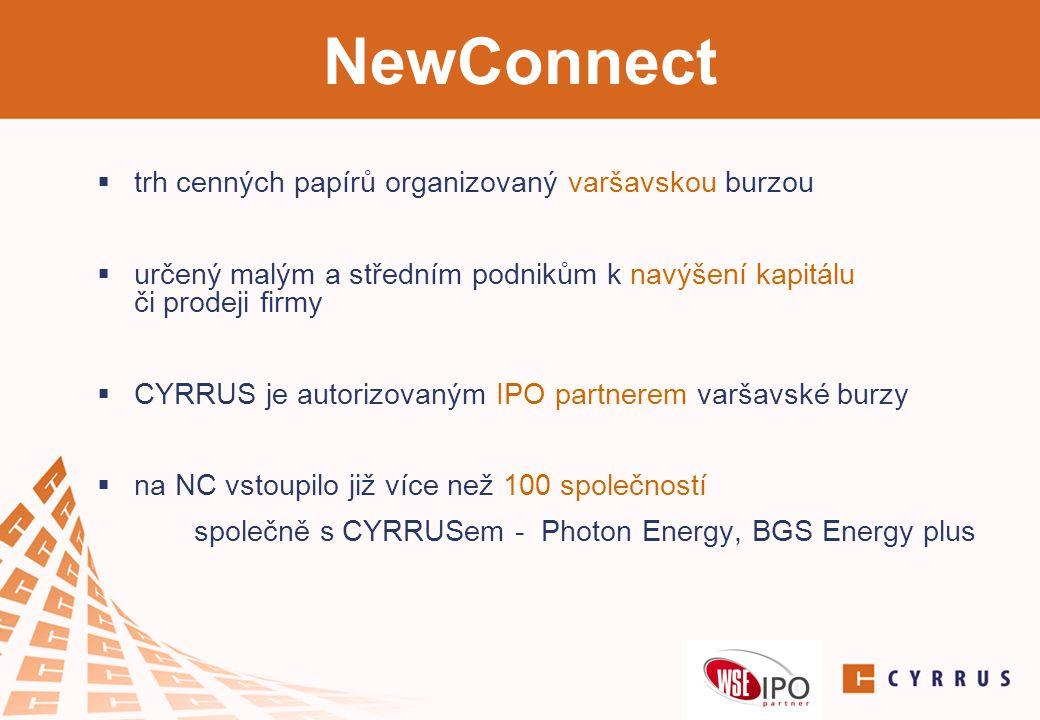 NewConnect  trh cenných papírů organizovaný varšavskou burzou  určený malým a středním podnikům k navýšení kapitálu či prodeji firmy  CYRRUS je aut
