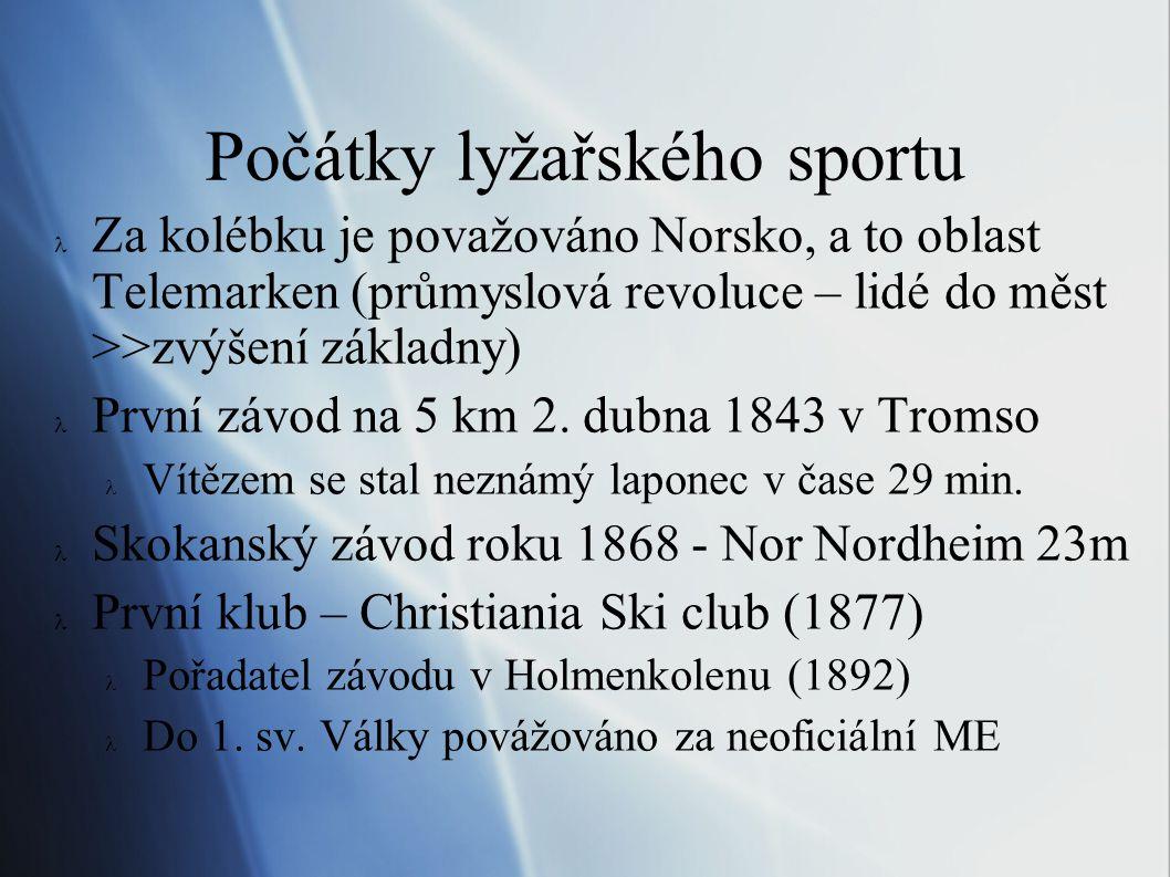 Lyžování v českých zemích  Písemné zmíňky již kolem roku 1850  První klub byl založen při pražském bruslařském oddíle J.