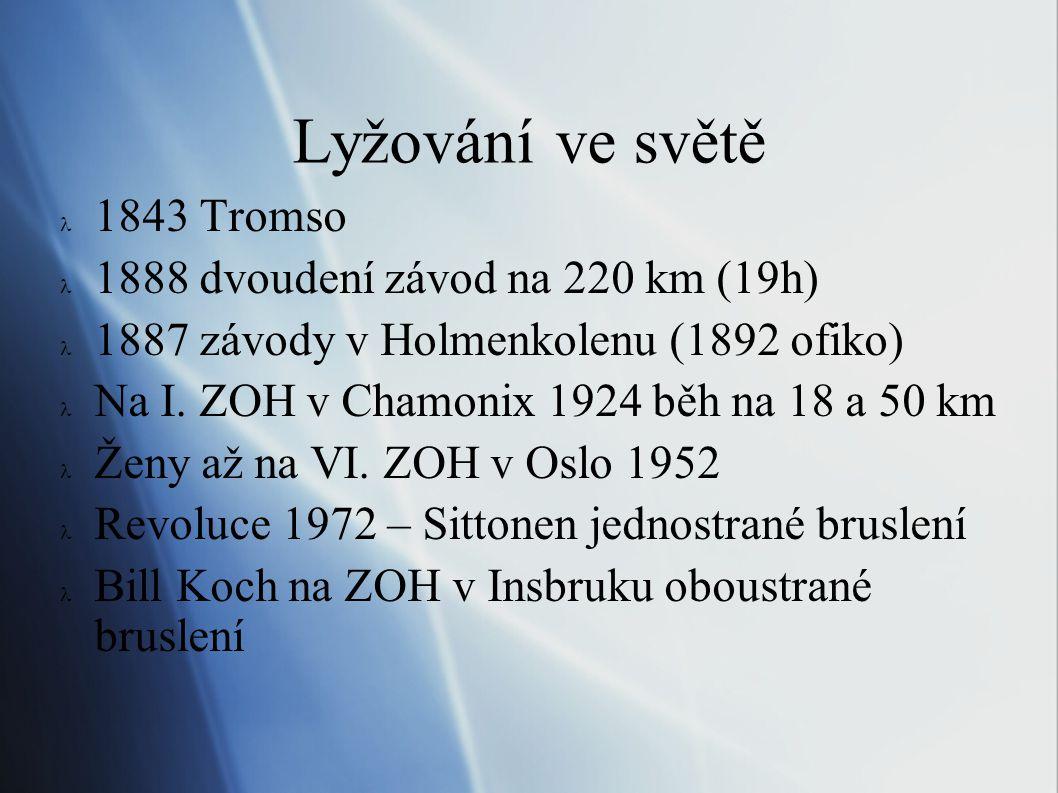 FIS  1910 v Oslo sraz 11 zemí  ustavena 3 člená komise - členem Český svaz  Roku 1923 kogres v Praze  Návrh pořadatele založit Mezinárodní lyžařskou federaci  To se stalo 25.1.