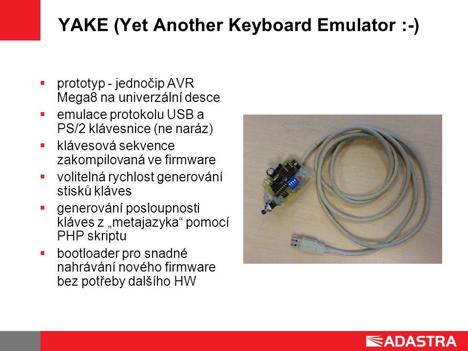 """YAKE (Yet Another Keyboard Emulator :-)  prototyp - jednočip AVR Mega8 na univerzální desce  emulace protokolu USB a PS/2 klávesnice (ne naráz)  klávesová sekvence zakompilovaná ve firmware  volitelná rychlost generování stisků kláves  generování posloupnosti kláves z """"metajazyka pomocí PHP skriptu  bootloader pro snadné nahrávání nového firmware bez potřeby dalšího HW"""
