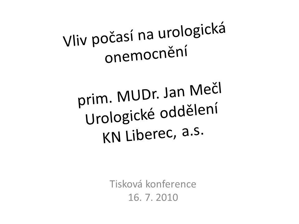 Vliv počasí na urologická onemocnění prim. MUDr. Jan Mečl Urologické oddělení KN Liberec, a.s. Tisková konference 16. 7. 2010