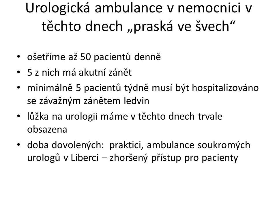 """Urologická ambulance v nemocnici v těchto dnech """"praská ve švech"""" • ošetříme až 50 pacientů denně • 5 z nich má akutní zánět • minimálně 5 pacientů tý"""