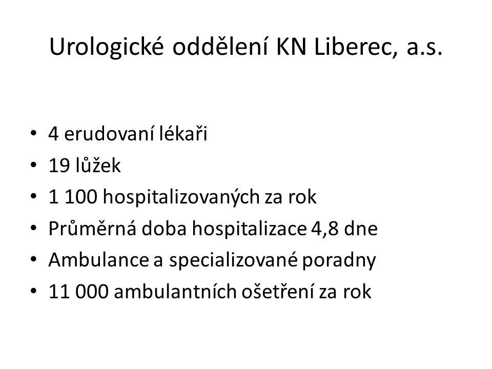 Urologické oddělení KN Liberec, a.s. • 4 erudovaní lékaři • 19 lůžek • 1 100 hospitalizovaných za rok • Průměrná doba hospitalizace 4,8 dne • Ambulanc