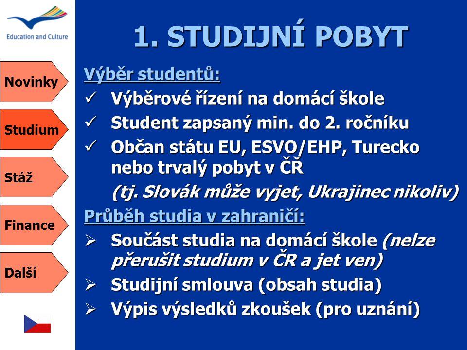 1. STUDIJNÍ POBYT Výběr studentů:  Výběrové řízení na domácí škole  Student zapsaný min. do 2. ročníku  Občan státu EU, ESVO/EHP, Turecko nebo trva