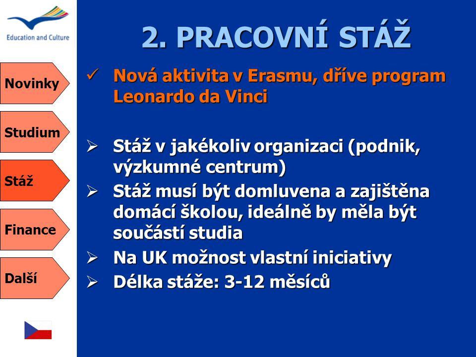 2. PRACOVNÍ STÁŽ  Nová aktivita v Erasmu, dříve program Leonardo da Vinci  Stáž v jakékoliv organizaci (podnik, výzkumné centrum)  Stáž musí být do