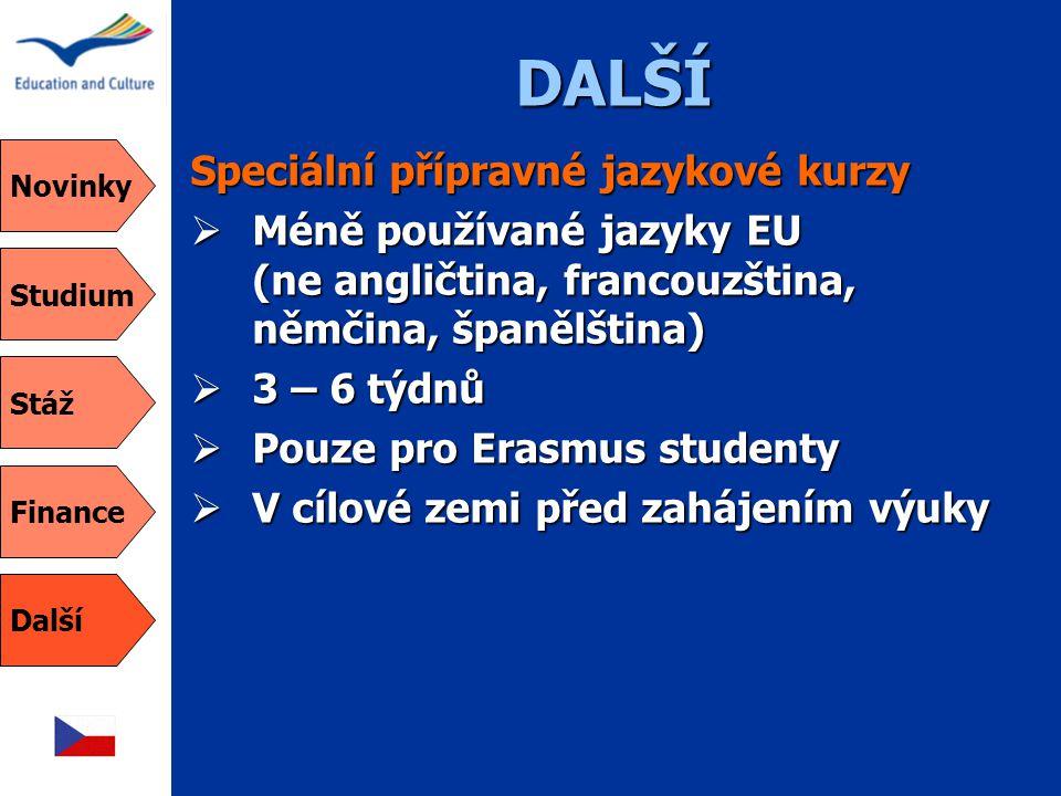 DALŠÍ Speciální přípravné jazykové kurzy  Méně používané jazyky EU (ne angličtina, francouzština, němčina, španělština)  3 – 6 týdnů  Pouze pro Erasmus studenty  V cílové zemi před zahájením výuky Novinky Studium Stáž Finance Další