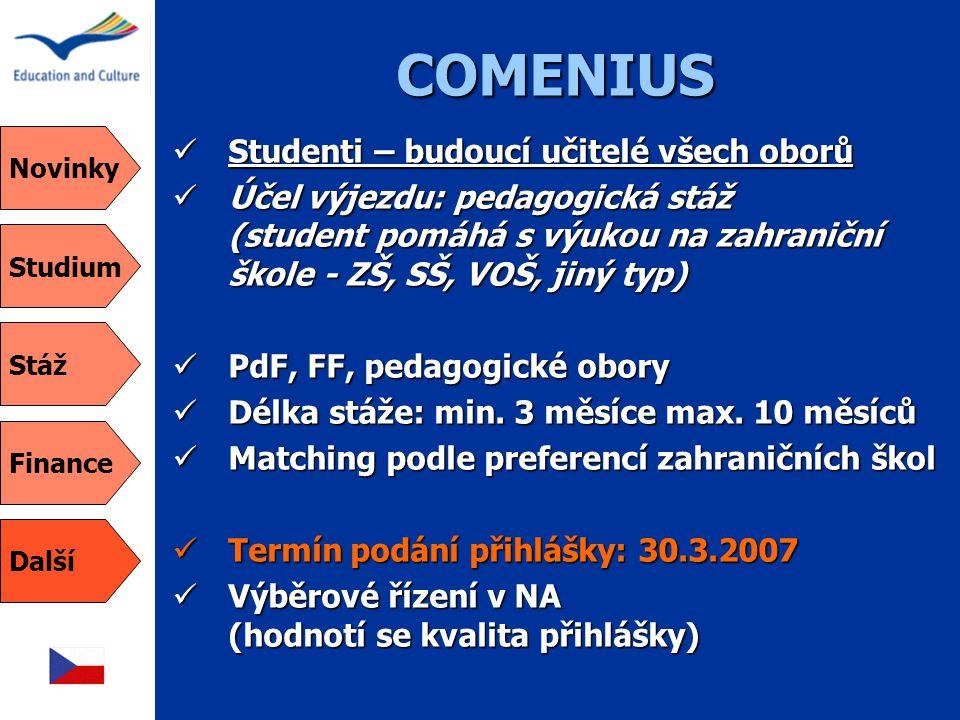 COMENIUS  Studenti – budoucí učitelé všech oborů  Účel výjezdu: pedagogická stáž (student pomáhá s výukou na zahraniční škole - ZŠ, SŠ, VOŠ, jiný typ)  PdF, FF, pedagogické obory  Délka stáže: min.