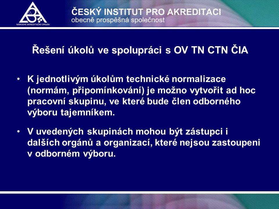 Řešení úkolů ve spolupráci s OV TN CTN ČIA •K jednotlivým úkolům technické normalizace (normám, připomínkování) je možno vytvořit ad hoc pracovní skup