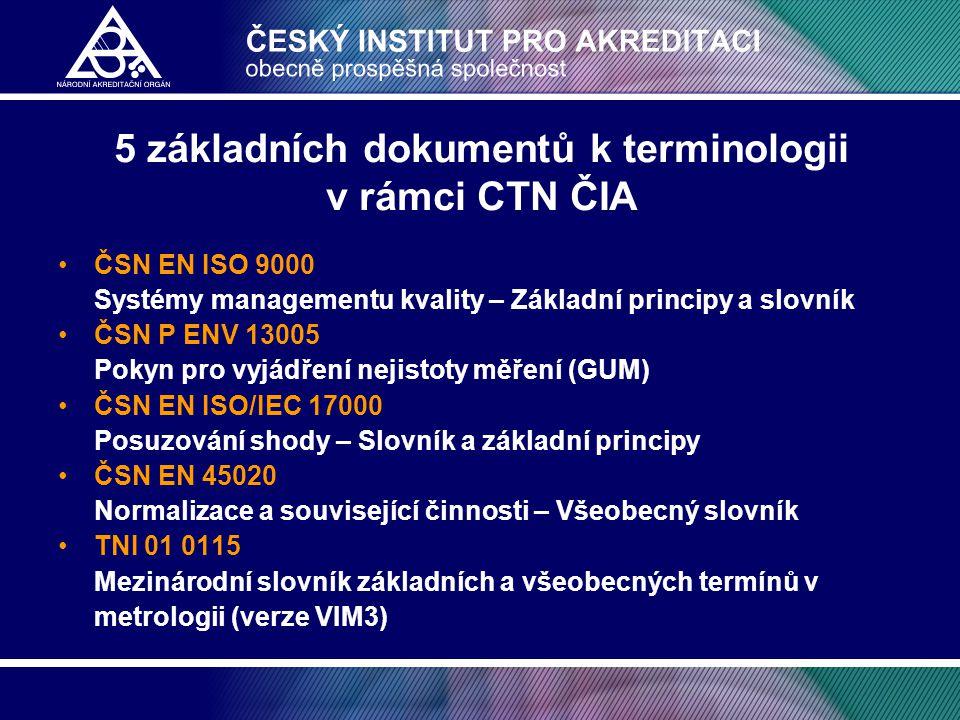 5 základních dokumentů k terminologii v rámci CTN ČIA •ČSN EN ISO 9000 Systémy managementu kvality – Základní principy a slovník •ČSN P ENV 13005 Poky