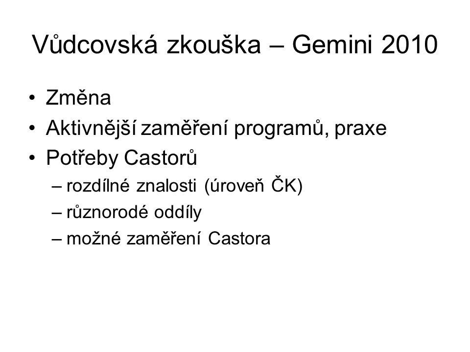 Vůdcovská zkouška – Gemini 2010 •Změna •Aktivnější zaměření programů, praxe •Potřeby Castorů –rozdílné znalosti (úroveň ČK) –různorodé oddíly –možné zaměření Castora