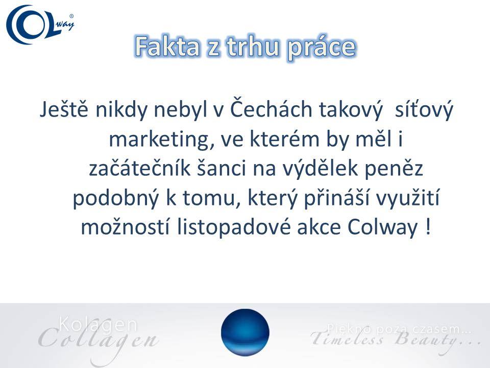 Ještě nikdy nebyl v Čechách takový síťový marketing, ve kterém by měl i začátečník šanci na výdělek peněz podobný k tomu, který přináší využití možností listopadové akce Colway !