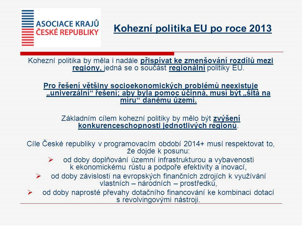 Kohezní politika EU po roce 2013 Kohezní politika by měla i nadále přispívat ke zmenšování rozdílů mezi regiony, jedná se o součást regionální politiky EU.