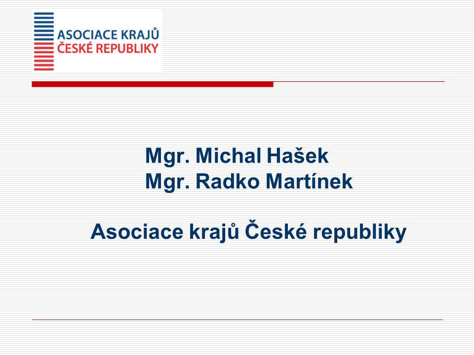 Mgr. Michal Hašek Mgr. Radko Martínek Asociace krajů České republiky