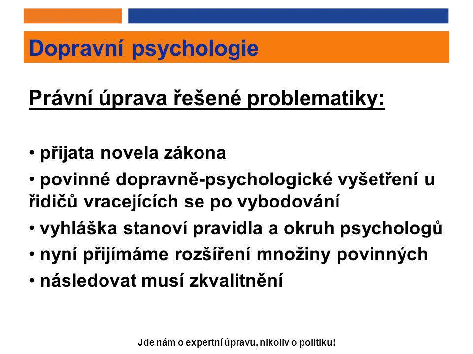 Jde nám o expertní úpravu, nikoliv o politiku! Dopravní psychologie Právní úprava řešené problematiky: • přijata novela zákona • povinné dopravně-psyc