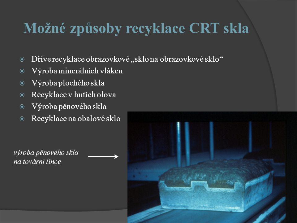 """Možné způsoby recyklace CRT skla  Dříve recyklace obrazovkové """"sklo na obrazovkové sklo  Výroba minerálních vláken  Výroba plochého skla  Recyklace v hutích olova  Výroba pěnového skla  Recyklace na obalové sklo výroba pěnového skla na tovární lince"""