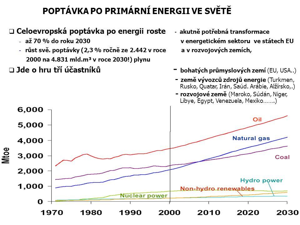 POPTÁVKA PO PRIMÁRNÍ ENERGII VE SVĚTĚ  Celoevropská poptávka po energii roste - akutně potřebná transformace - až 70 % do roku 2030 v energetickém se