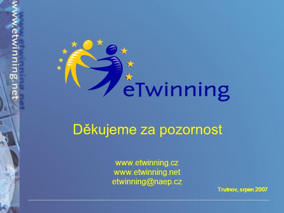 Trutnov, srpen 2007 Děkujeme za pozornost www.etwinning.cz www.etwinning.net etwinning@naep.cz