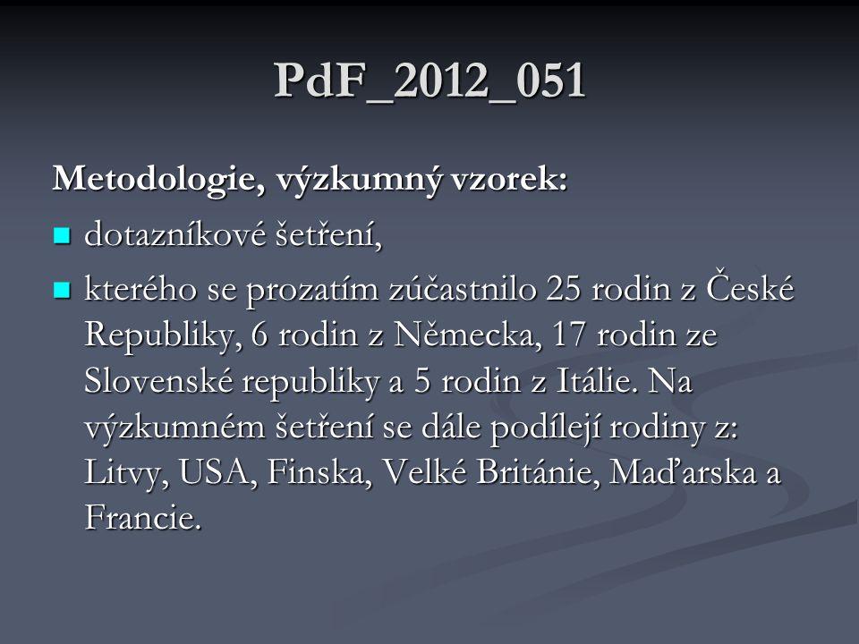 PdF_2012_051 Metodologie, výzkumný vzorek:  dotazníkové šetření,  kterého se prozatím zúčastnilo 25 rodin z České Republiky, 6 rodin z Německa, 17 rodin ze Slovenské republiky a 5 rodin z Itálie.