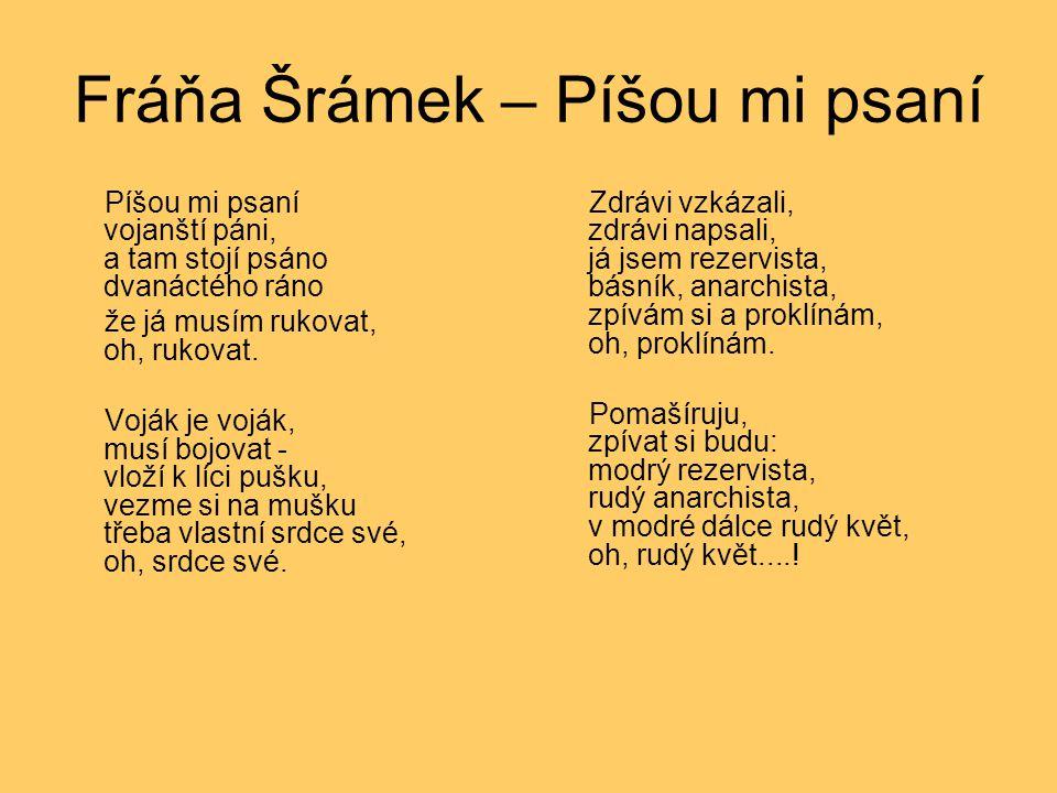 Fráňa Šrámek – Píšou mi psaní Píšou mi psaní vojanští páni, a tam stojí psáno dvanáctého ráno že já musím rukovat, oh, rukovat. Voják je voják, musí b