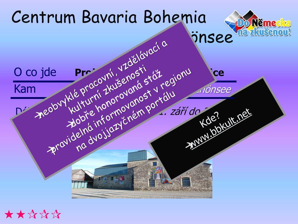 Centrum Bavaria Bohemia Schönsee Délka 12 měsíců vždy od 1. září do 31. srpna. Kde?  www.bbkult.net  O co jde Projekt Kultura nezná hranice Cent