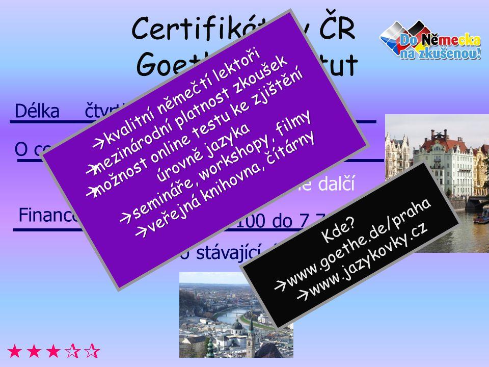 Certifikáty v ČR Goethe Institut  Délka čtvrtletní i měsíční kurzy Úrovně A1,A2,B1,B2,C1,C2 Goethe-Zertifikat a mnohé dalčí cena kurzu od 3 100 do 7 700 Kč výhody pro stávající účastníky O co jde.